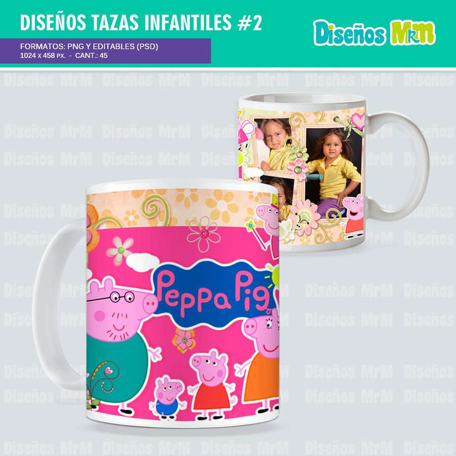Diseños en Photoshop para SUBLIMAR MUGS INFANTILES