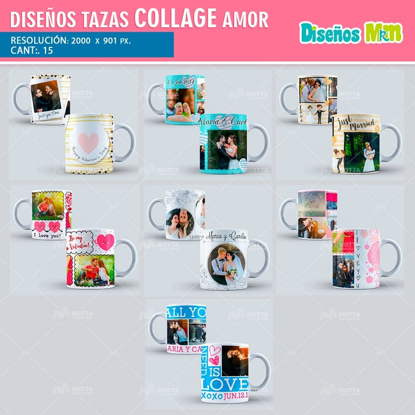 PLANTILLAS PARA TAZA COLLAGE DE AMOR